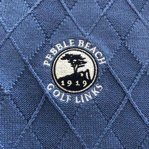 PEBBLE BEACH Cotton Links Logo Sweater Vest - Sz M